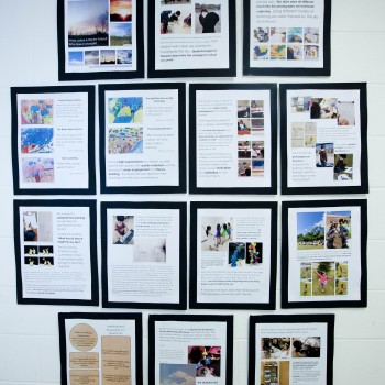 Images posted outside of the classroom for a Sky Inquiry project